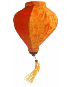 "Vietnamese Oriental Silk Bamboo Handcrafted Lantern Lamp Chinese Orange 9"" S V3"
