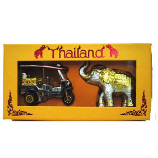 Thai Traditional Boxed Gift Model Tuk-Tuk Autorickshaw & Elephant Tuktuk