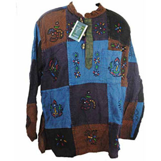 Fair Trade Mens Nepal Hippy Painted Patchwork Trippy Cotton Top / Shirt (W-M-2)