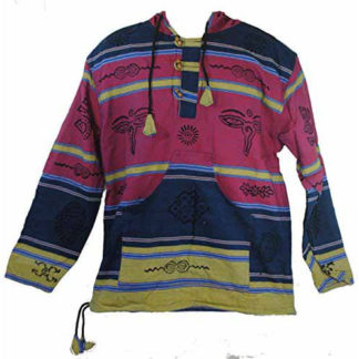 Fair Trade Mens Heavy Cotton Symbol Jumper / Hooded Top From Nepal (Washim)