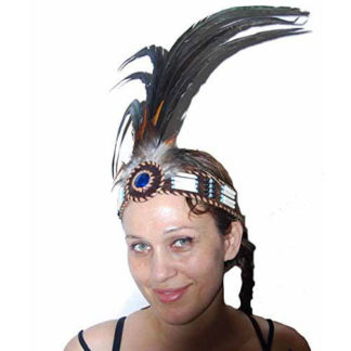 Fair Trade Native American Headdress Headband Bone Beads Real Feathers Head Band