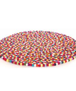 Fair Trade Handmade Multicoloured 150Cm Round Felt Ball Wool Nepalese Rug Carpet