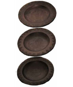 Set Of 3 Fair Trade Indonesian Wooden Dinner Serving Plates (I12-14)