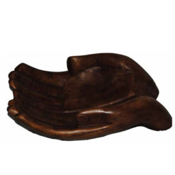 Solid Wooden Hand Carved Pair Of Hands Wood Fruit Bowl Orament From Indonesia