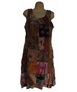 Fairtrade Multicoloured Patchwork Hippy Festival Bright Travel Batik Dress I88