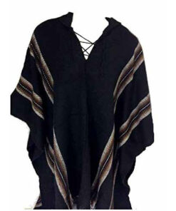 100% Baby Alpaca Men'S Fair Trade Poncho Jumper Wool Cloak Cape Jacket Black