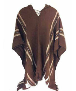 100% Baby Alpaca Men'S Fair Trade Poncho Jumper Wool Cloak Cape Jacket Brown