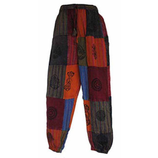 Fair Trade Nepal Cotton Patchwork Trousers With Real Patches (N31 Multicoloured)