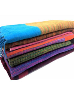 Luxury Ethical Tibetan Yak Wool Shawl Hippy Funky Festival Travel Blanket N370