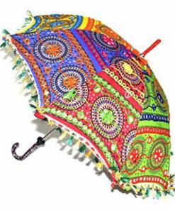 Indian Multicoloured 65Cm Embroidered Hippy Boho Festival Sun Parasol Umbrella