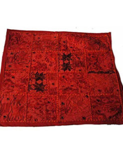 Fairtrade Floral Hippy Funky Rajesthani India Embroidered Cushion Cover Red Rj25