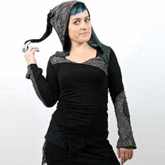 Nepalese Womens Hooded Pixie Hippy Steam Punk Gypsy Festival Black Top W2