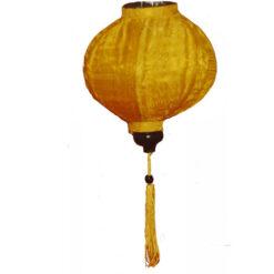 "VIETNAMESE ORIENTAL SILK & BAMBOO HANDCRAFTED LANTERN LAMP chinese yellow 20"" L v1"