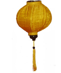 "VIETNAMESE ORIENTAL SILK & BAMBOO HANDCRAFTED LANTERN LAMP chinese yellow 20"" L v1"