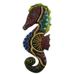 Fair Trade Wall Art: Animal Wooden Carving. Hand painted Seahorse 30cm Balsa Wood