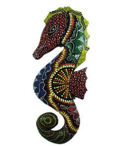 Fair Trade Wall Art: Animal Wooden Carving. Hand painted Seahorse 30cm Balsa Wood