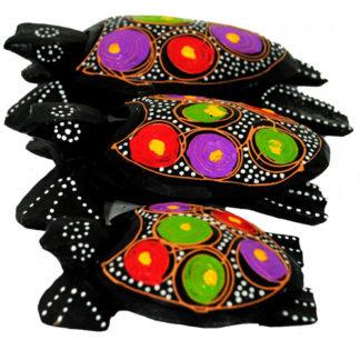 Balinese Set 3 Turtles Sea Tea Light Holder Ashtray Trinket Box Ornament 811