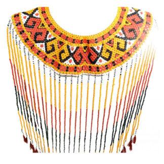 Ethnic Sulawesi Torajan Tribal Ceremonial Warrior Beaded Necklace Dance Artefact