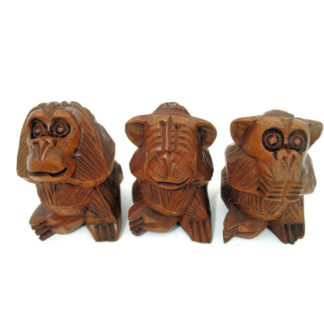Balinese Wood See Hear Speak No Evil 3 Wise Monkeys Mystical Apes Carving Statue