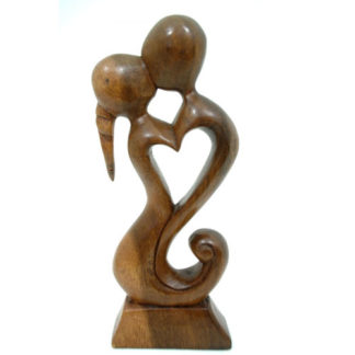Balinese Wood Abstract Romantic Embrace Couple Kiss Carving Statue Ornament Art