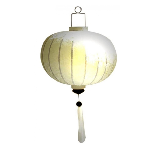 "Vietnamese Oriental Silk Bamboo Handcrafted Lantern Lamp Chinese White 14"" M V2"