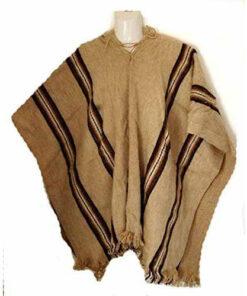 Fair Trade Mens Alpaca Wool Hooded Peruvian Poncho Warm Shawl Festival Coat Sand