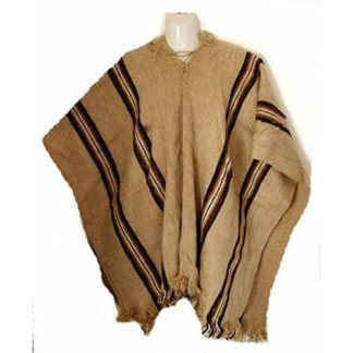 Fair Trade Mens Alpaca Wool Hooded Peruvian Poncho Warm Shawl Festival Coat Sand