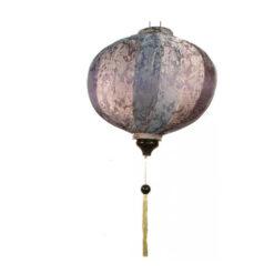 "VIETNAMESE ORIENTAL SILK & BAMBOO HANDCRAFTED LANTERN LAMP chinese Silver 20"" L"
