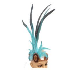 Ethical Native American Headdress Headband Beads & Feathers Head Band Blue