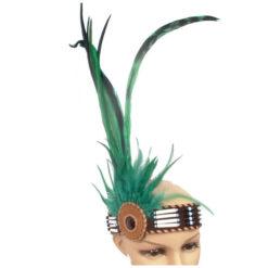 Ethical Native American Headdress Headband Beads & Real Feathers Head Band Green