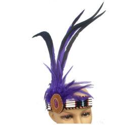 Ethical Native American Headdress Headband Beads & Feathers Head Band Purple