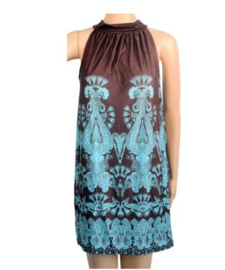 Halterneck brown blue Paisley pattern summer sun travel clubbing dress UK 8-14