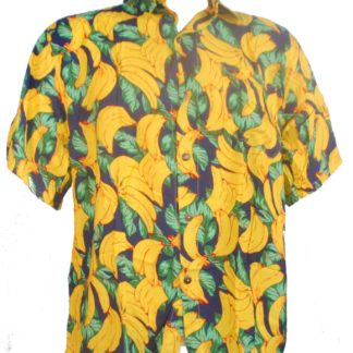 Fair Trade Yellow Banana Tropical Fruit Shirt W/ Coconut Buttons S-Xxl Hawaiian