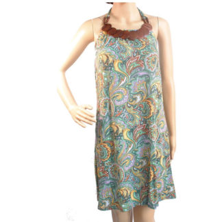 Halterneck paisley pattern summer festival hippy green aztec dress UK 8-12