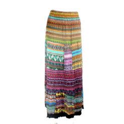Long Frilly Crinkle Ruffle Samba Latino Flamenco Multicoloured Festival Skirt M