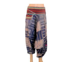 Blue Hareem Fisherman Trousers Harem Wide leg Travel Hippy Boho Yoga Baggy Pants
