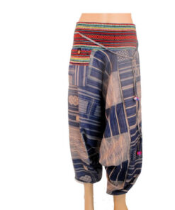 Blue Hareem Fisherman Trousers Harem Wide leg Travel Hippy Boho Yoga Baggy Pants