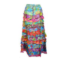 Ethical Long Frilly Ruffle Samba Latino Flamenco Multicoloured Festival Skirt S