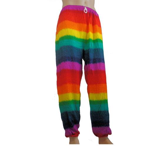 Rainbow Multicoloured Festival Hippy Garish Clown Lightweight Unisex Trousers - Medium