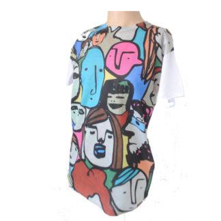 GibGae Boutique Label Trendy Limited Print Bright Amine Graffiti Mens T-Shirt