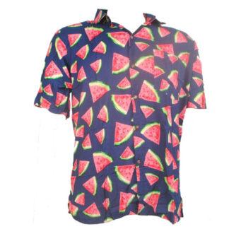 Fair Trade Watermelon Tropical Fruit Shirt With Coconut Buttons S-Xxl