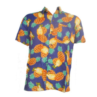 Fair Trade Pineapple Tropical Fruit Shirt With Coconut Buttons S-Xxl