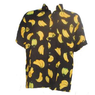 Fair Trade Banana Black Tropical Fruit Shirt With Coconut Buttons S-Xxl