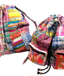 Unisex Hippy Patchwork Canvas Backpack Shoulder Travel Festival Bag Rucksack M45