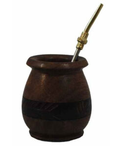 Fair Trade Bolivian Wooden Yerba Mate Cup And Metal Bombilla Straw