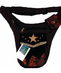 Mens Cotton Hip Waist Belt Bum Bag Bumbag Travel Money Belt Wallet N100 Brown